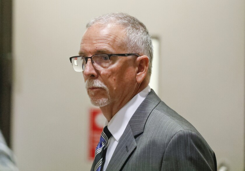 FILE - In this Wednesday, June 26, 2019 file photo, UCLA gynecologist James Heaps appears in Los Angeles Superior Court. A federal judge on Monday, July 12, 2021, approved a $73 million settlement of a lawsuit that alleged some 6,000 women were sexually abused by a former University of California, Los Angeles gynecologist. (Al Seib/Los Angeles Times via AP, Pool, File)