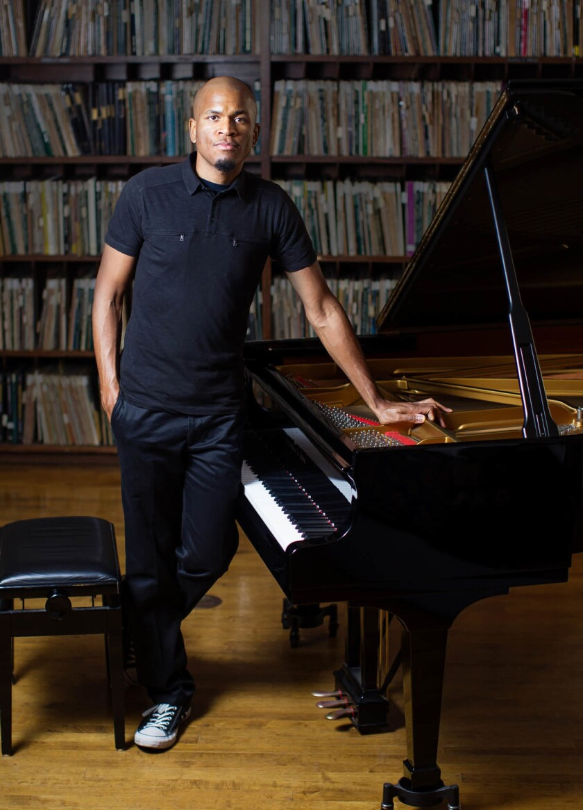 Jazz pianist Joshua White at the La Jolla Athenaeum Music & Arts Library. (Eduardo Contreras/Union-Tribune)