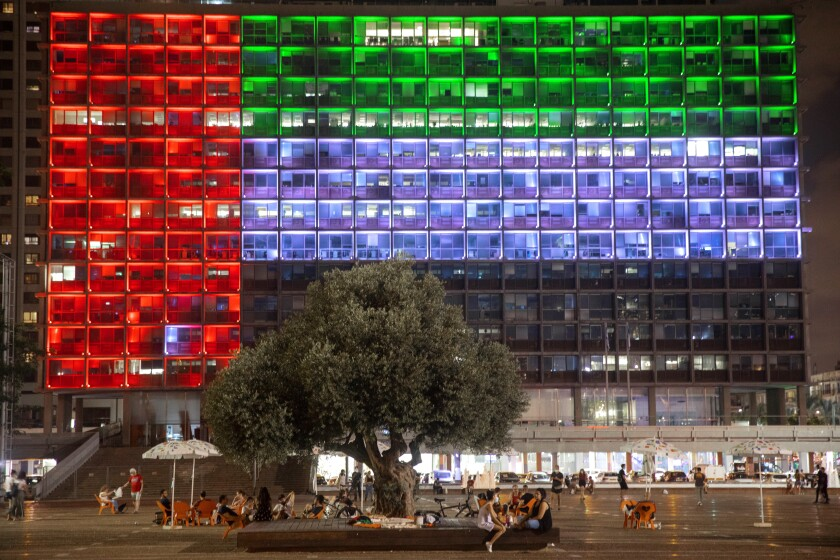 Tel Aviv City Hall is lit up with the flag of the United Arab Emirates