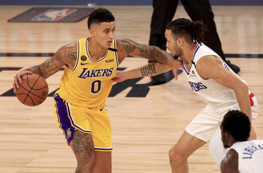 Lakers forward Kyle Kuzma came off the bench to score 16 points in a 103-101 defeat of the Clippers on Thursday night.