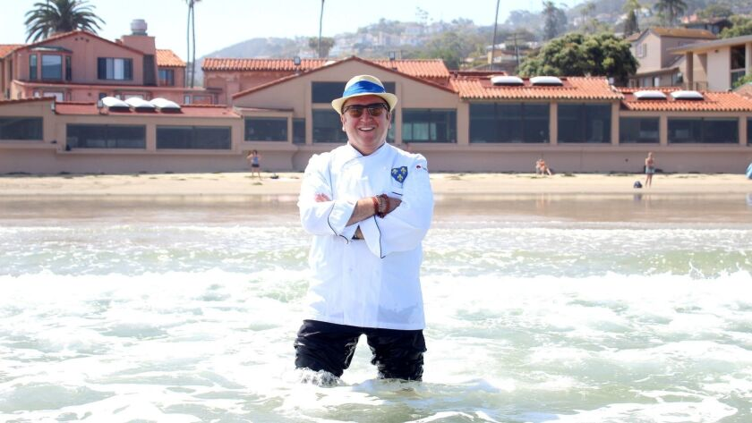 Chef Bernard Guillas will prepare the food at the first Disciples Escoffier International Induction and Celebration Dinner in Southern California, Oct. 8 at The Marine Room (pictured), where he will also be inducted into the organization.