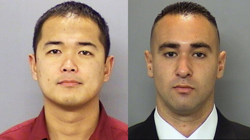 San Diego Police Officer Jonathan De Guzman, left, was shot to death, and Officer Wade Irwin was injured in the July 28 attack.