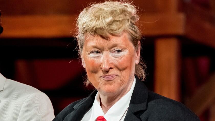 Meryl Streep dressed as Donald Trump.