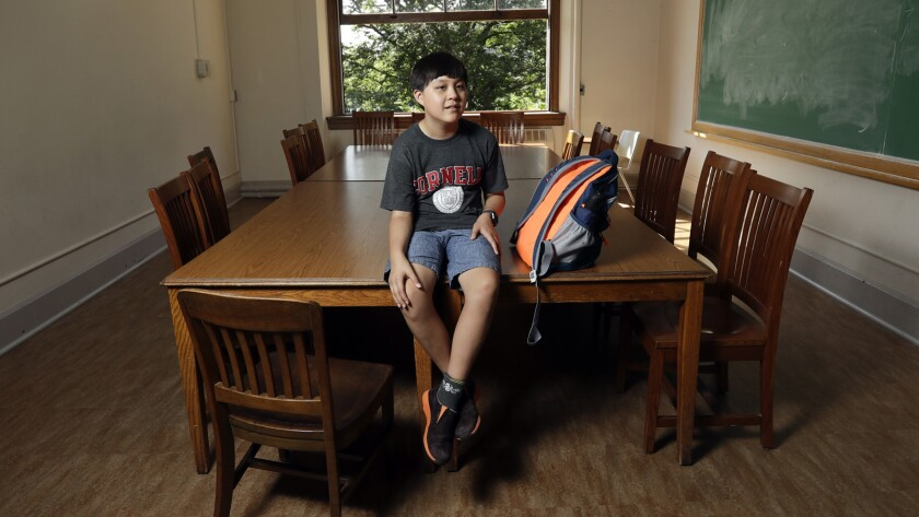 Jeremy Shuler, 12, a freshman at Cornell University, on campus in Ithaca, N.Y.