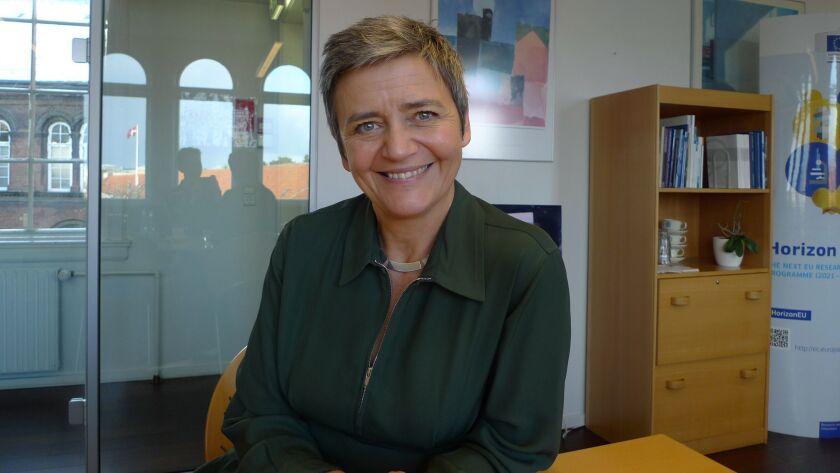 The European Union's competition commissioner, Margrethe Vestager, poses during an interview Monday