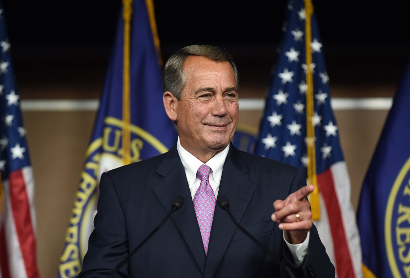 House Speaker John Boehner holds his weekly news conference on Capitol Hill on Wednesday.