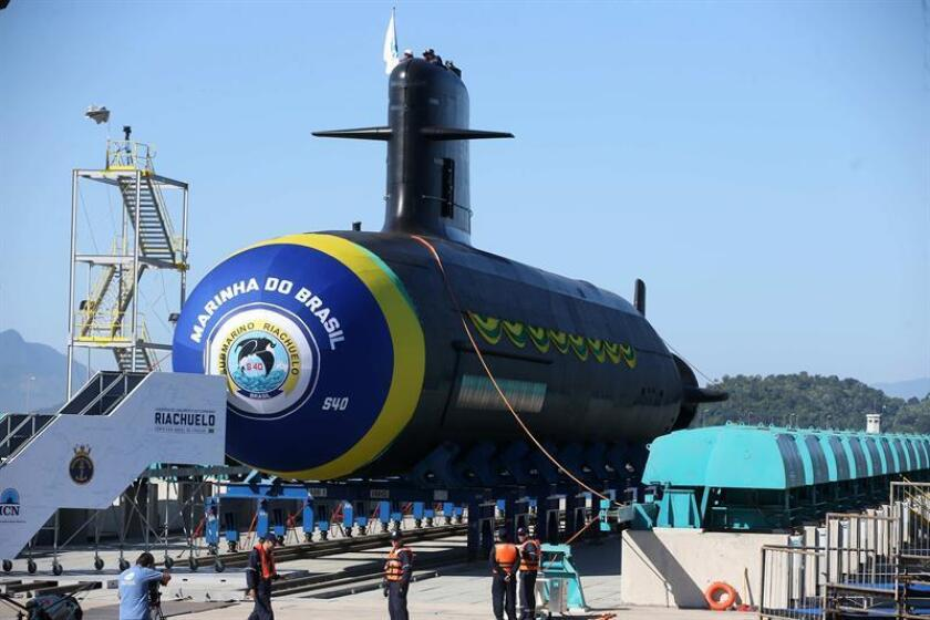 A view of the newly launched submarine Riachuelo at the Itaguai Naval Complex near Rio de Janeiro, Brazil, on Dec. 14, 2018. EPA-EFE/MARCELO SAYAO
