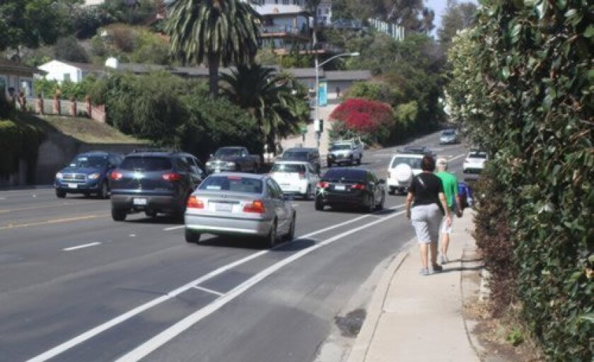 The Phase 1 plan calls for a pedestrian-activated crosswalk between Princess and Amalfi streets on Torrey Pines Road in La Jolla. Ashley Mackin
