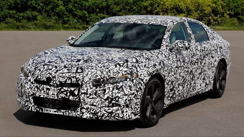 Honda says its next-generation 2018 Accord sedan has a more aggressive stance than previous Accords, although it only released pictures of the car in camouflage.