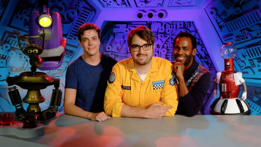 "The new crew of ""Mystery Science Theater 3000,"" from left: Crow, Gypsy, voice actor Hampton Yount, Jonah Ray, voice actor Baron Vaughn and Tom Servo."
