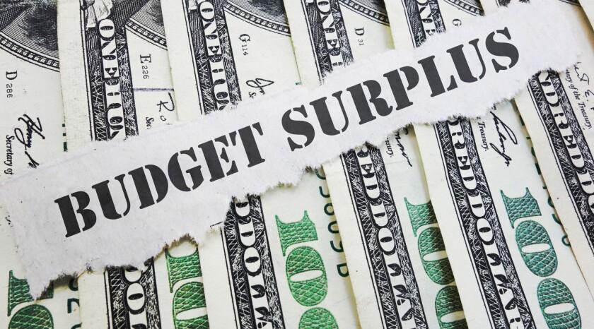 Budget Surplus message on hundred dollar bills