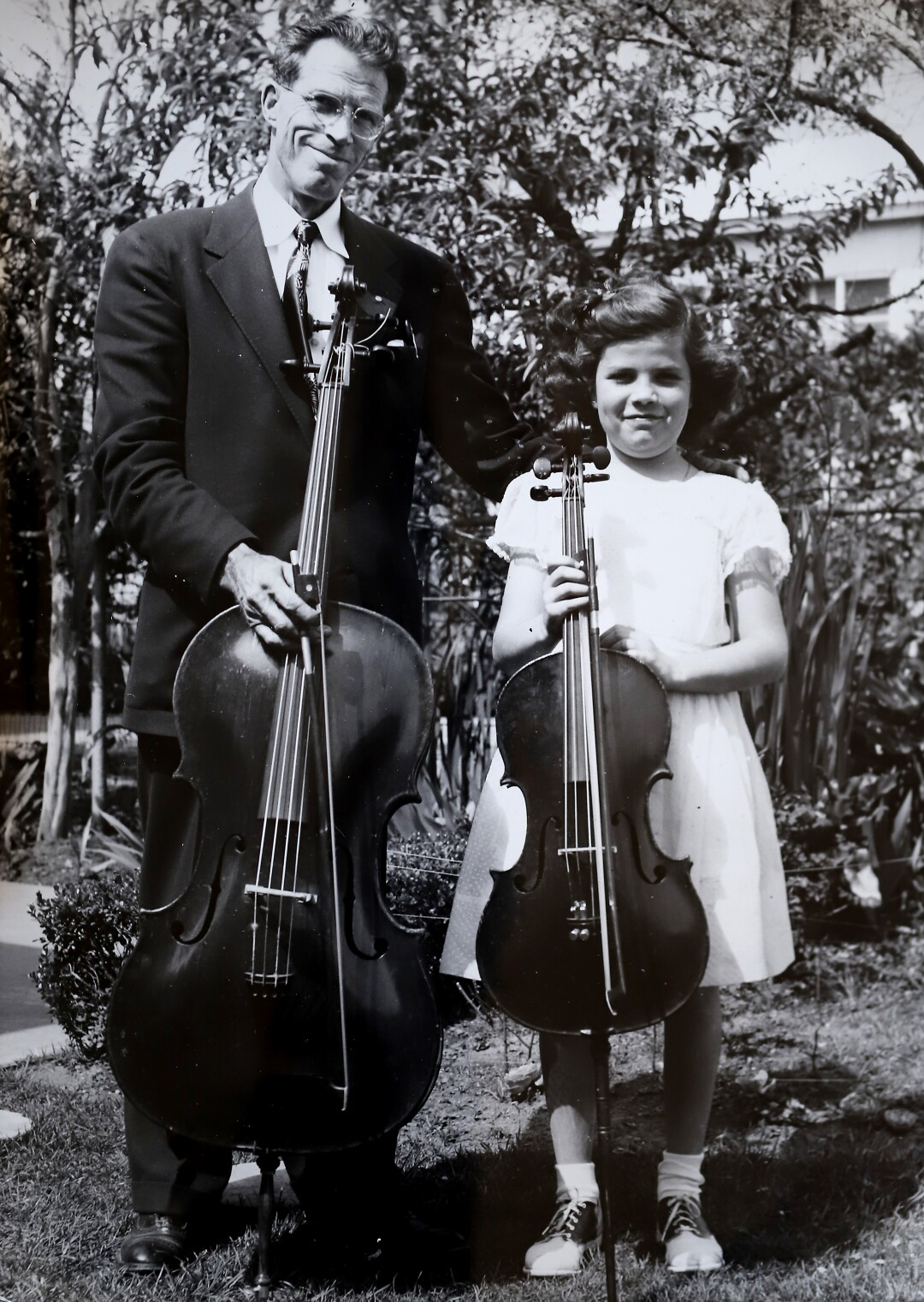 Christine Walevska with her father, Hermann. She is holding a rare Bernardel cello that was stolen in 1976.