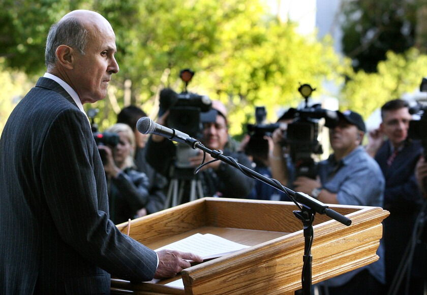 Los Angeles County Sheriff Lee Baca faces the media in response to an announcement of the FBI arrests of members of the Sheriff's Department in connection with a federal probe into activities at county jails.