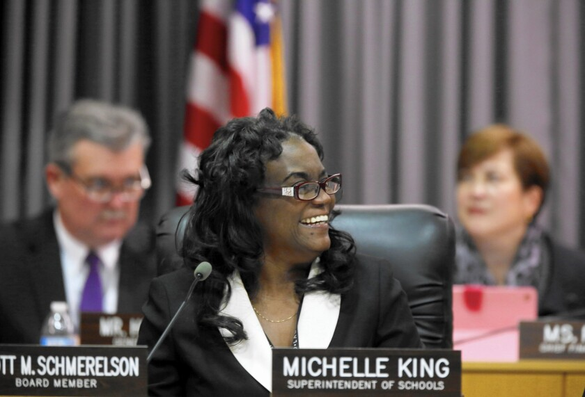 "New Supt. Michelle King says of L.A. Unified: ""I see the district as having ... pockets of success, and I see building on the achievements we have. And then I see areas we want to strengthen."""