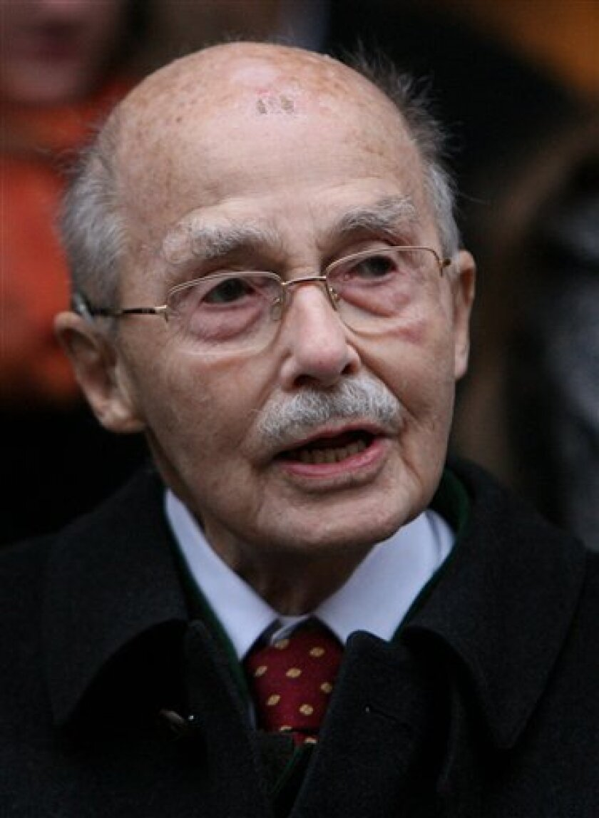 FILE - In this Nov. 25, 2007 file picture Archduke  Otto von Habsburg attends ceremonies for his 95th birthday in Munich, southern Germany. A  spokeswoman for Otto von Habsburg says the oldest son of Austria-Hungary's last emperor and longtime head of one of Europe's most influential families has d