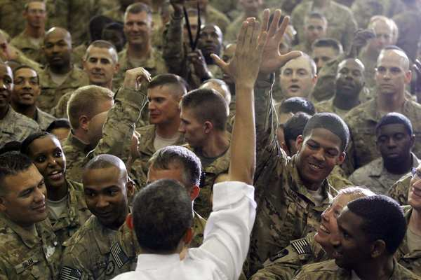 President Obama greets troops at Bagram air base in Afghanistan.
