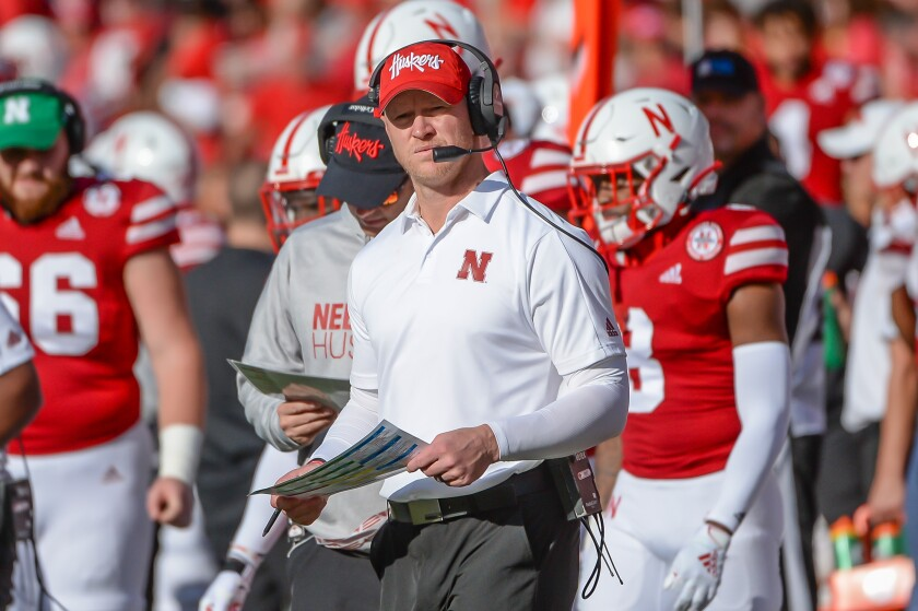 Nebraska coach Scott Frost watches the action during a game against Northwestern on Oct. 5 at Memorial Stadium.