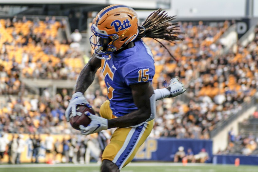 Pittsburgh defensive back Jason Pinnock (15) intercepts a Central Florida pass in the end zone during the first half of an NCAA college football game, Saturday, Sept. 21, 2019, in Pittsburgh. (AP Photo/Keith Srakocic)
