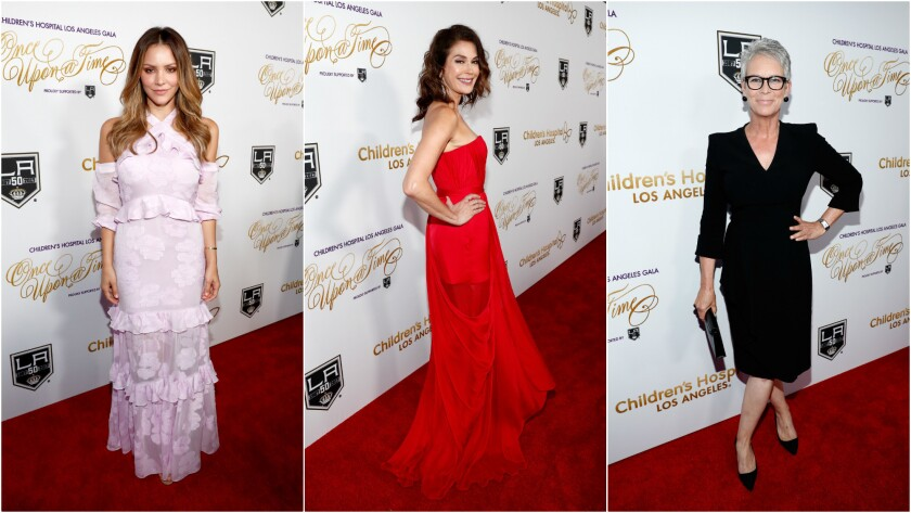 Katharine McPhee, left, Teri Hatcher and Jamie Lee Curtis hit the red carpet at the Children's Hospital Los Angeles gala.