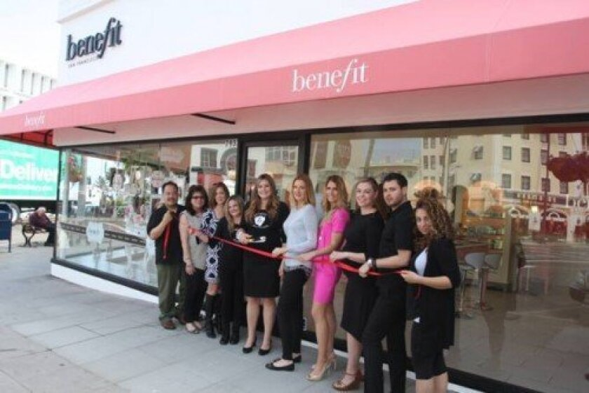 Benefit Cosmetics at 7933 Girard Ave. (at Prospect Street) opened May 7 and held a ribbon-cutting with Wesley Woo, Rita Kilkenney, Lisa Edwards, Alyssa Colin, Rachel Thomson, Leslie Duprey, Glynnis Doyle, Pablo McLachlan and Blanca Rodriguez.  Photo by Leon Chow