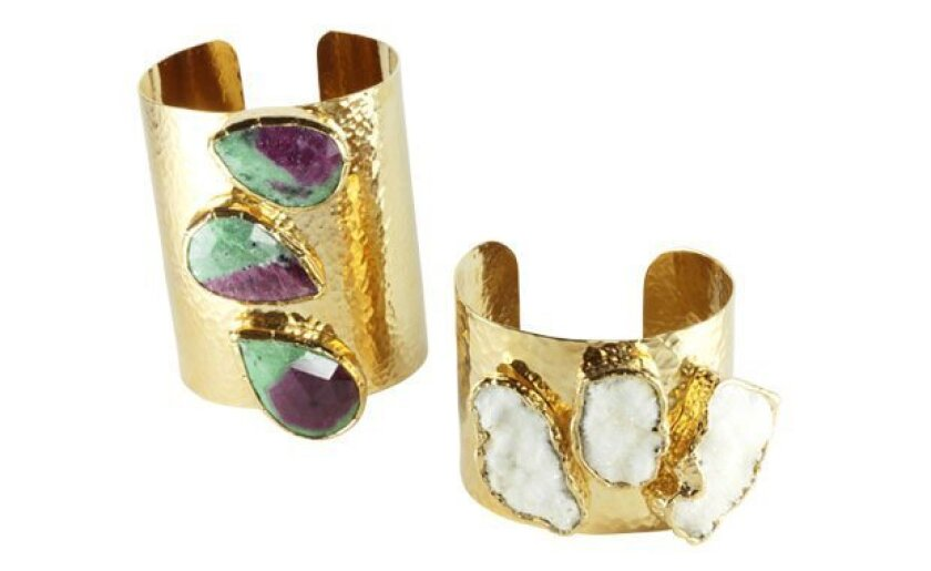 Among Leslie Fastlicht Russo creations are her triple-stone cuffs. Photo: KERUT