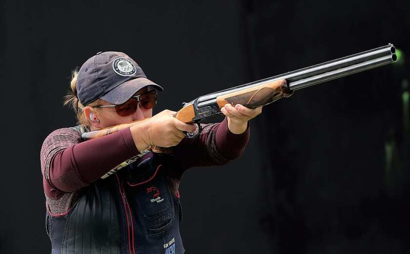 Kim Rhode of the U.S. competes in the women's skeet final at the 2016 Rio Olympics.