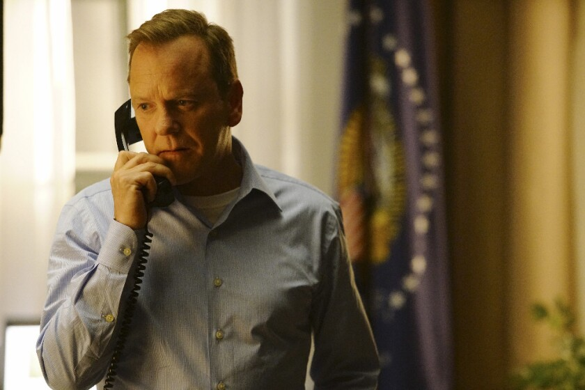 """Out of the sweatshirt and into the Oval Office: Kiefer Sutherland in """"Designated Survivor."""""""