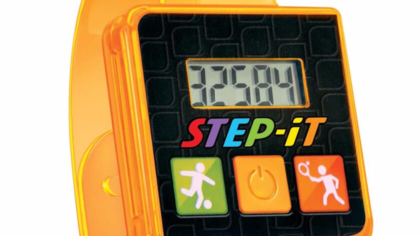This image shows the face of a Step-It wristband.