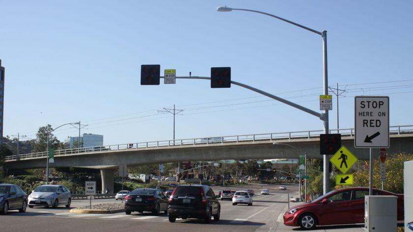 A HAWK beacon is already in place across Mission Center Road between Camino de la Reina and Hazard C