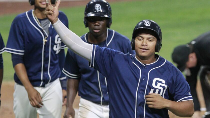 The Padres' Josh Naylor, right, celebrates his three run home run with teammates in the first inning against the Texas Rangers during the Padres Futures Game at Petco Park on Friday, Oct. 7, 2016.