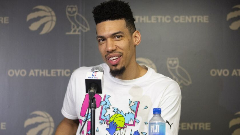 Danny Green takes questions from the media during a news conference following the Raptors' championship-clinching win on June 16, 2019.