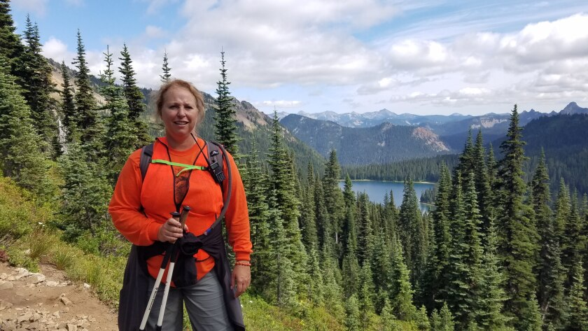 Theresa Sturkie of Oceanside poses on the Pacific Crest Trail in Washington state last year.