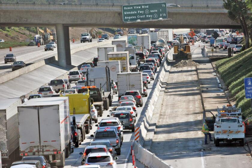 Traffic comes to a stop on the eastbound 210 freeway in La Crescenta due to the two right lanes being closed for roadwork on Nov. 14, 2016.