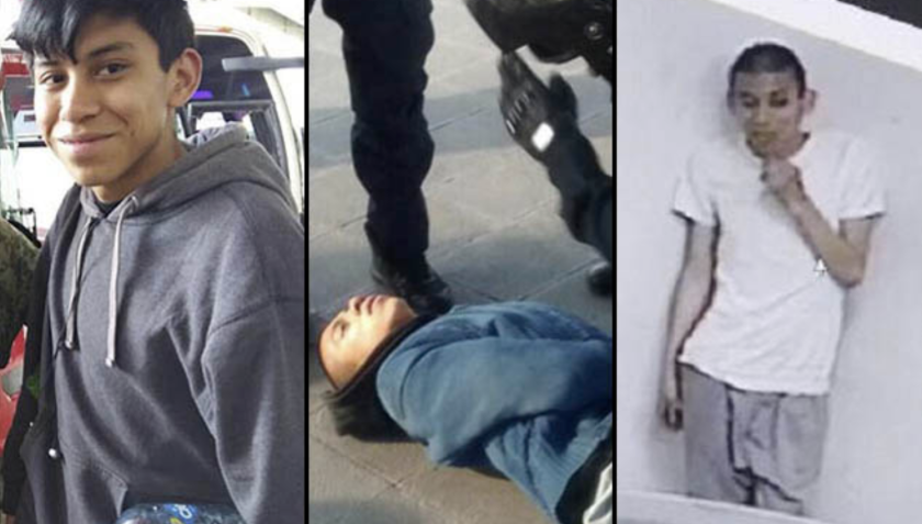 Imágenes de Marco Antonio Sánchez Flores: tras ser detenido por la policía -sin motivo- y al ser localizado con vida, golpeado y rapado.