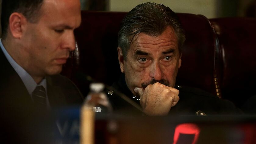 L.A. Police Chief Charlie Beck attends a special Police Commission meeting to hear testimony from im