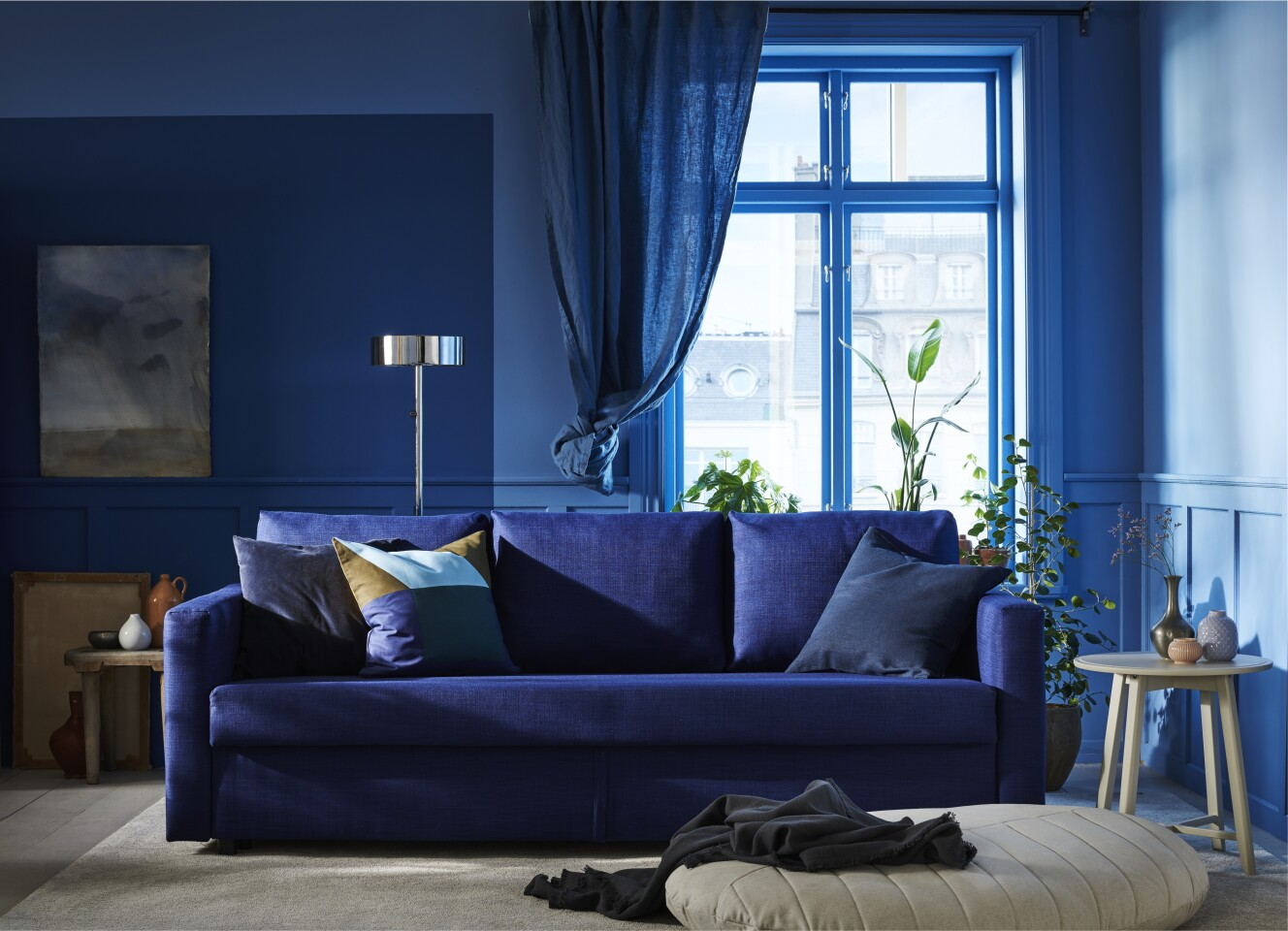 Ikea's Friheten sleeper sofa in blue, $399, is just the right tone for the Pantone Color of the Year 2020.