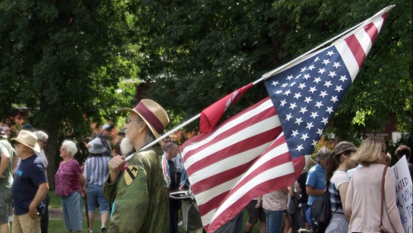 Vietnam War veteran and peace activist David Armstrong carries an American flag in the distress position during a Families Belong Together march and rally on Saturday in Pullman, Wash.