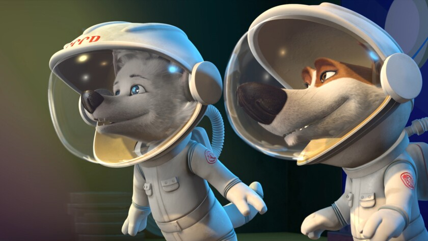 "A scene from the animated movie ""Space Dogs: Adventure to the Moon."""
