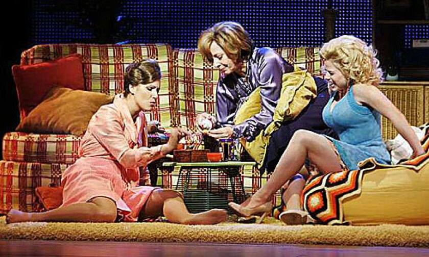 '9 to 5: The Musical': Judy (Stephanie Block), Violet (Allison Janney) and Doralee (Megan Hilty) share a joint at Violet's home.