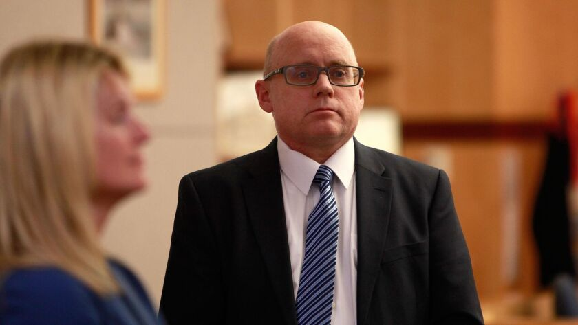Opening statements in the trial of ex-head of schools at Army Navy Academy Jeff Barton take place at the Vista Courthouse Tuesday.