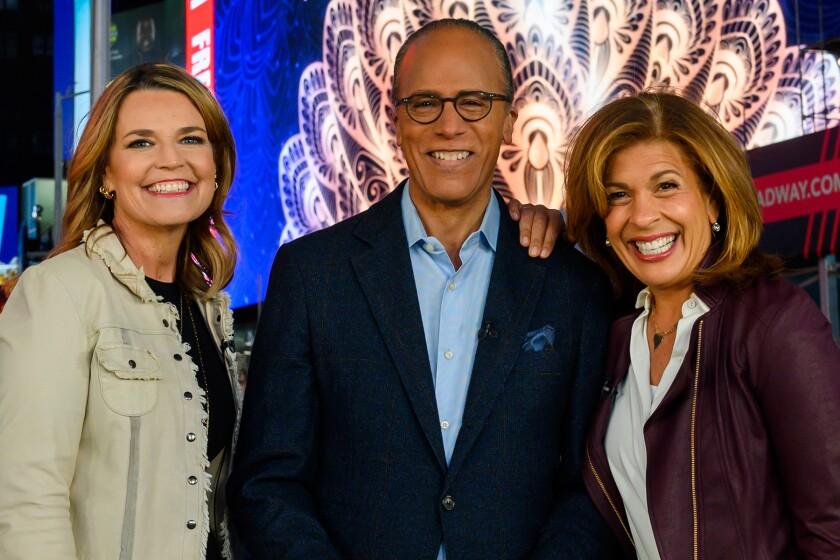 "Savannah Guthrie, left, Lester Holt and Hoda Kotb host the new special ""Inspiring America"" on NBC."