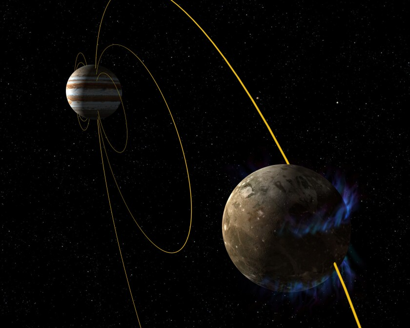 In an artist's rendering, the moon Ganymede orbits the giant planet Jupiter. The glowing blue lines on the moon are its aurorae.