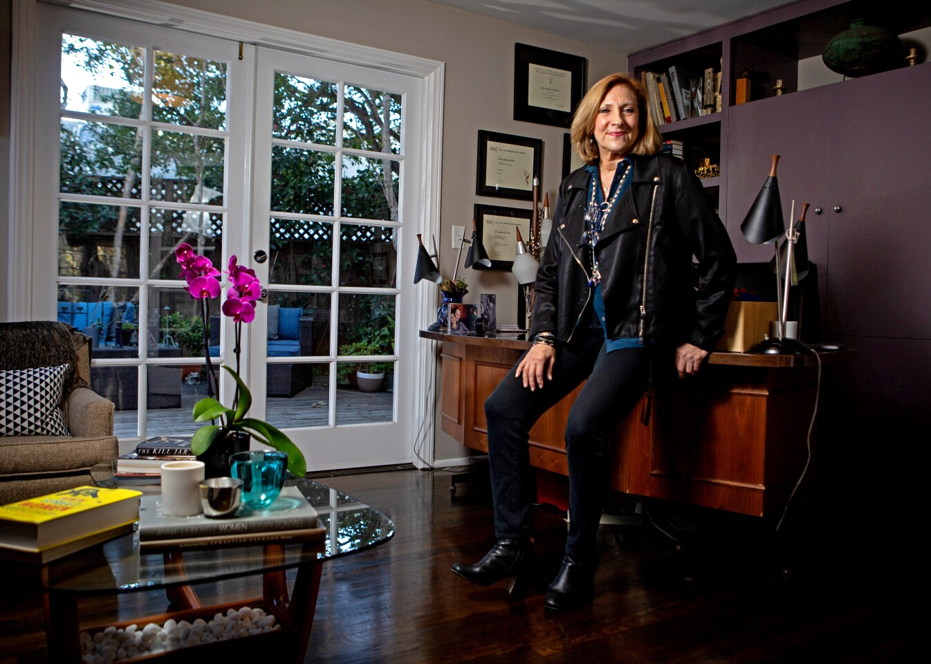 """Pacific Palisades, CA., February 10, 2020 — Leslie Linka Glatter, executive producer and director of """"Homeland"""", poses for a portrait in her home office on Monday, February 10, 2020 in Pacific Palisades, California. (Jason Armond / Los Angeles Times)"""