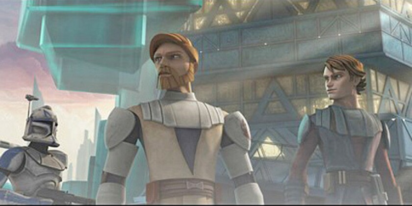 "Jedi Knights Obi-Wan Kenobi, center, and Anakin Skywalker, right, are joined by a clone trooper as they prepare for battle in a still from the upcoming ""Star Wars: The Clone Wars."""