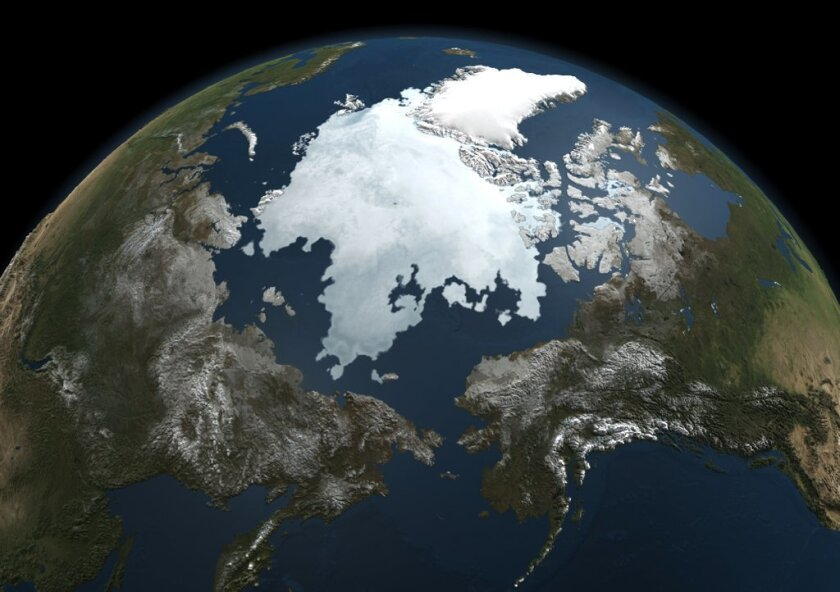 This file handout photo released by NASA taken on September 13, 2010 by NASA's Aqua satellite shows the Arctic sea ice.