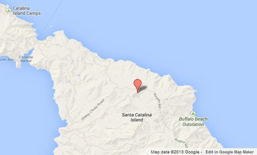 Approximate location of Airport in the Sky on Catalina Island where a small plane ran off the runway Sunday.