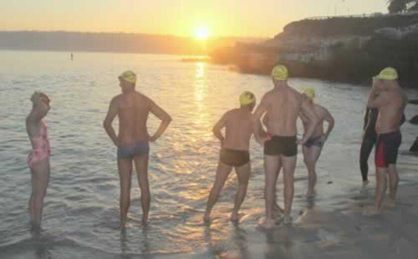 La Jolla Rotarians prepare for the 2012 sunrise swim. Courtesy