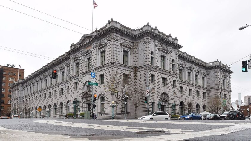 The U.S. Court of Appeals for the Ninth Circuit building in San Francisco is shown.