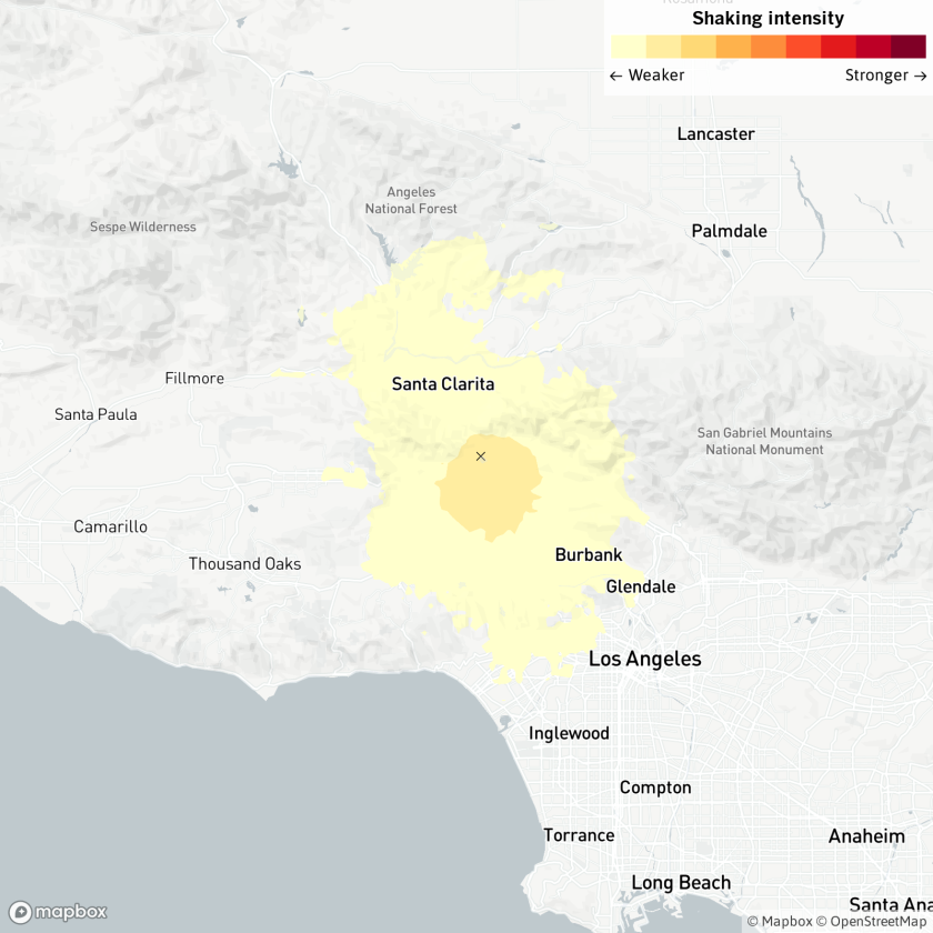 A magnitude 3.6 earthquake was reported Tuesday evening two miles from Granada Hills.
