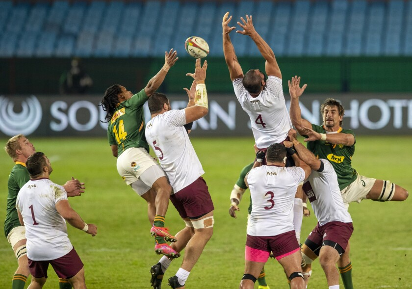 Players jump for the ball during first test rugby match between South Africa and Georgia at Loftus Versfeld in Pretoria, South Africa, Friday, July 2, 2021. (AP Photo/Themba Hadebe)